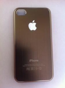 Чехол для iPhone с алюминиевой вставкой коричневый